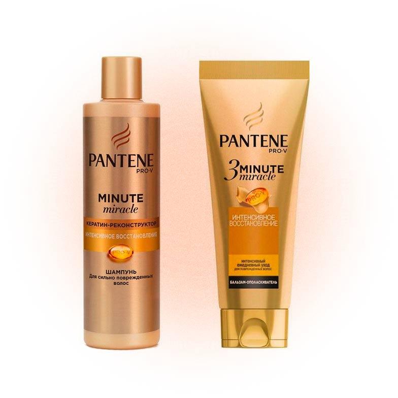 Шампунь и бальзам-ополаскиватель для поврежденных волос 3 Minute Miracle, Pantene
