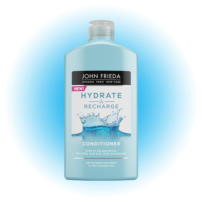 Увлажняющий кондиционер для сухих, ослабленных и поврежденных волос Hydrate & Recharge с кератином, JOHN FRIEDA