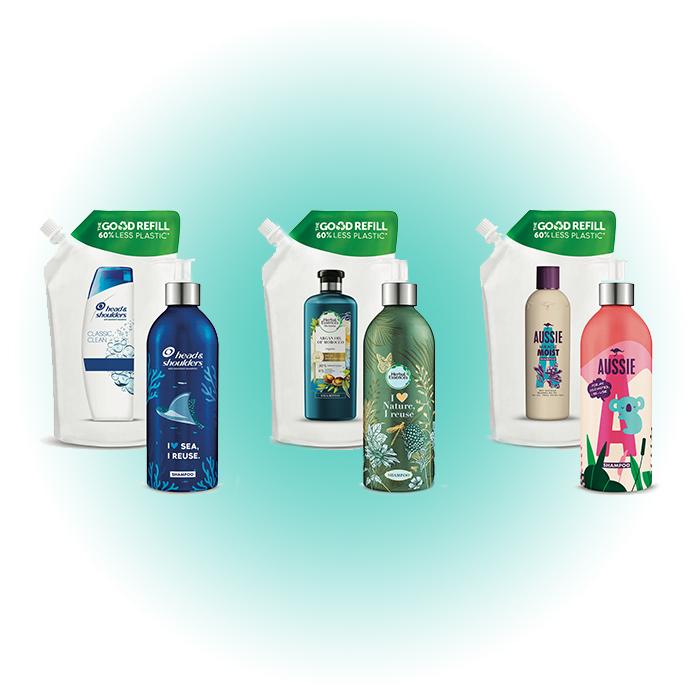Многоразовые бутылки для шампуней, P&G Beauty